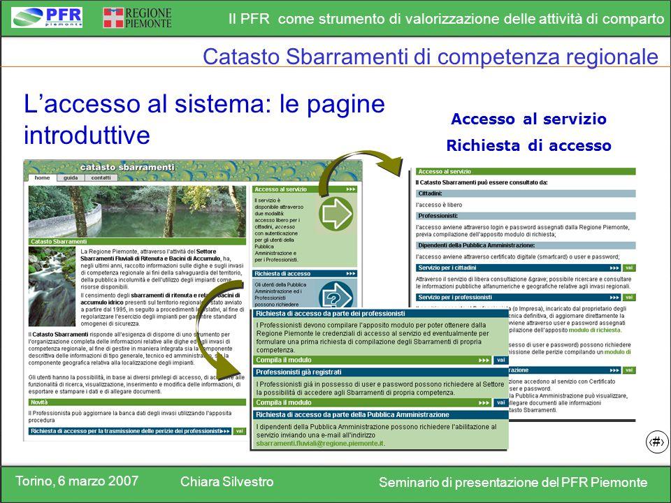 Torino, 6 marzo 2007 Chiara Silvestro Seminario di presentazione del PFR Piemonte Il PFR come strumento di valorizzazione delle attività di comparto 8 Accesso al servizio Richiesta di accesso Laccesso al sistema: le pagine introduttive Catasto Sbarramenti di competenza regionale