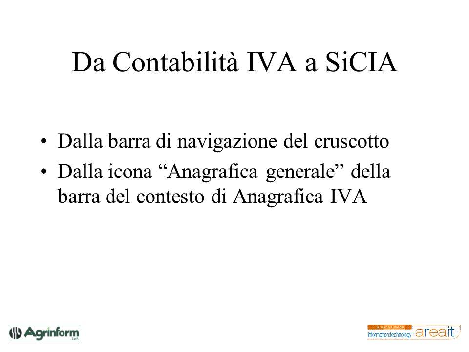 Da Contabilità IVA a SiCIA Dalla barra di navigazione del cruscotto Dalla icona Anagrafica generale della barra del contesto di Anagrafica IVA