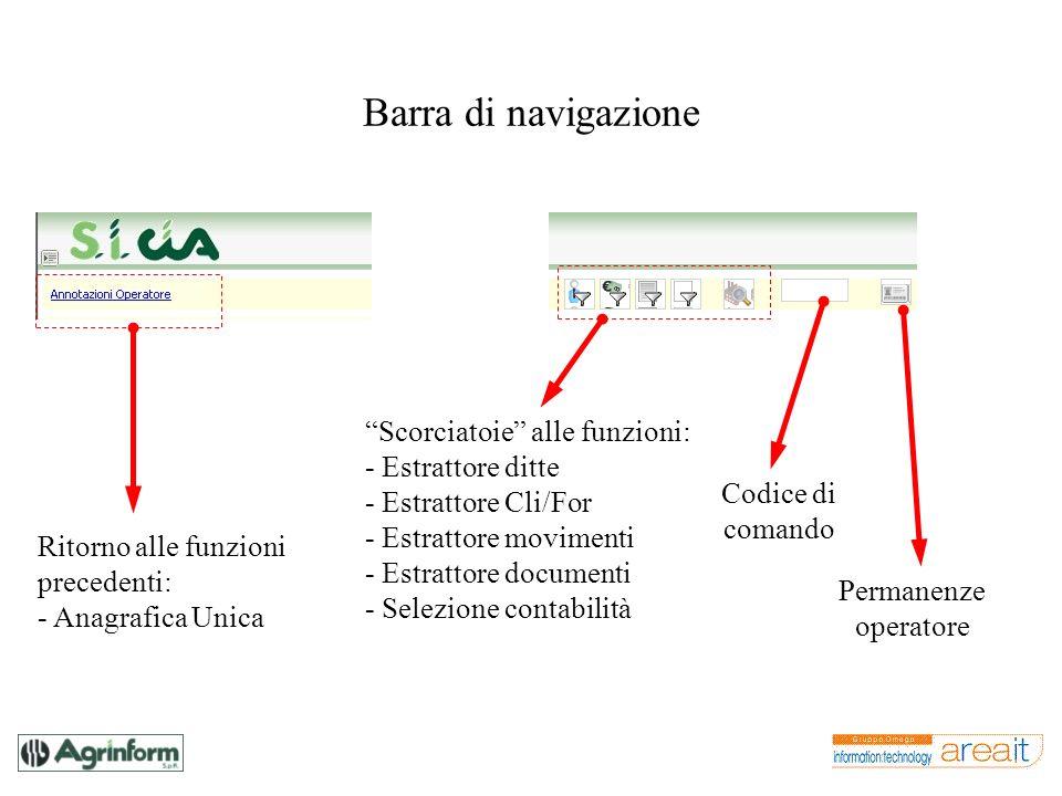 Barra di navigazione Ritorno alle funzioni precedenti: - Anagrafica Unica Scorciatoie alle funzioni: - Estrattore ditte - Estrattore Cli/For - Estratt