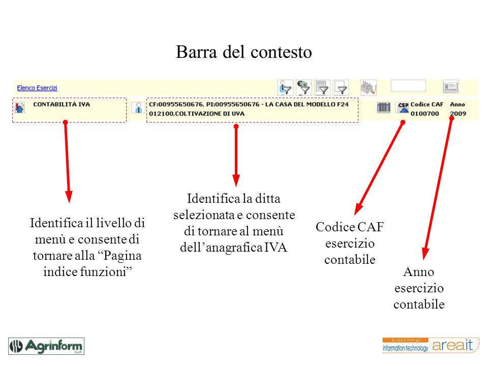 Barra del contesto Identifica il livello di menù e consente di tornare alla Pagina indice funzioni Identifica la ditta selezionata e consente di torna