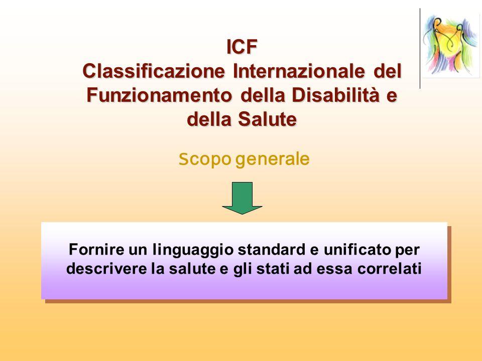 ICF Classificazione Internazionale del Funzionamento della Disabilità e della Salute S copo generale Fornire un linguaggio standard e unificato per de
