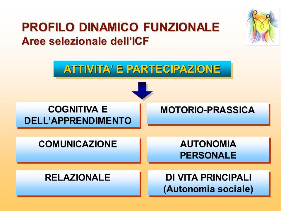 PROFILO DINAMICO FUNZIONALE Aree selezionale dellICF COGNITIVA E DELLAPPRENDIMENTO COMUNICAZIONE RELAZIONALE MOTORIO-PRASSICA AUTONOMIA PERSONALE DI V