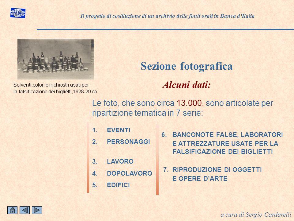 1.EVENTI 2.PERSONAGGI 3.LAVORO 4.DOPOLAVORO 5.EDIFICI Sezione fotografica Alcuni dati: a cura di Sergio Cardarelli Le foto, che sono circa 13.000, sono articolate per ripartizione tematica in 7 serie: 6.