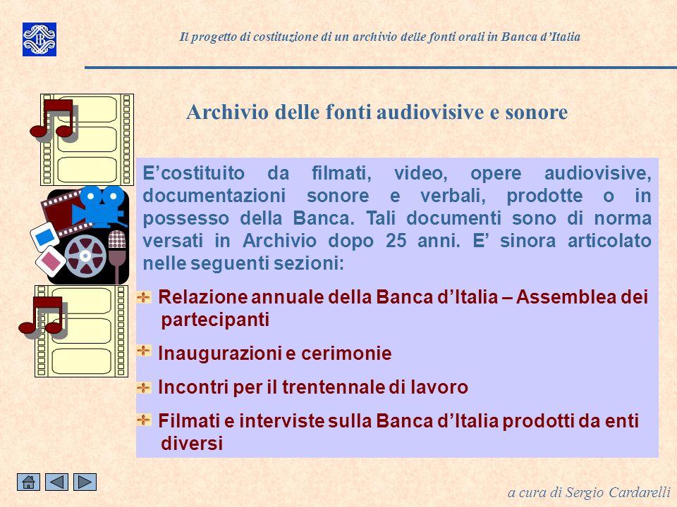 Archivio delle fonti audiovisive e sonore a cura di Sergio Cardarelli Ecostituito da filmati, video, opere audiovisive, documentazioni sonore e verbali, prodotte o in possesso della Banca.