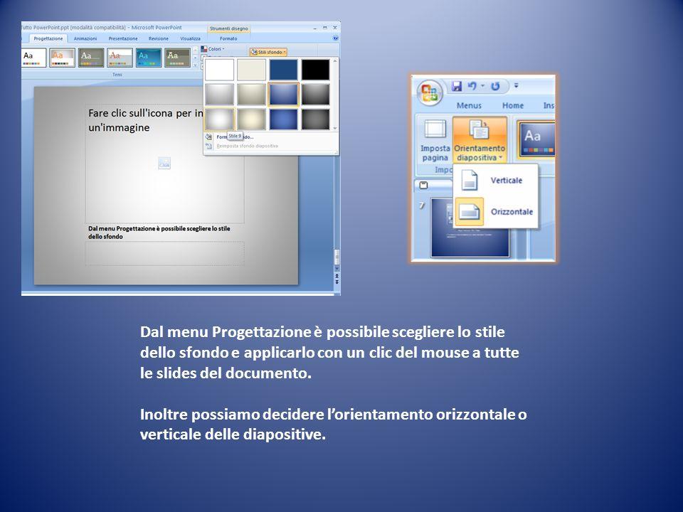 Dal menu Progettazione è possibile scegliere lo stile dello sfondo e applicarlo con un clic del mouse a tutte le slides del documento. Inoltre possiam