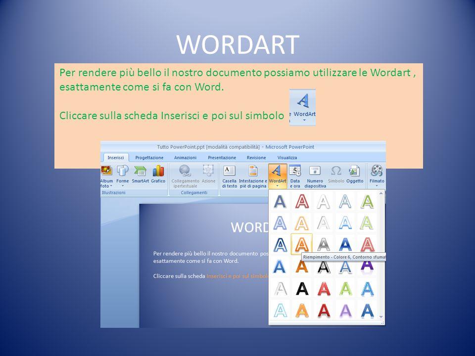 WORDART Per rendere più bello il nostro documento possiamo utilizzare le Wordart, esattamente come si fa con Word. Cliccare sulla scheda Inserisci e p