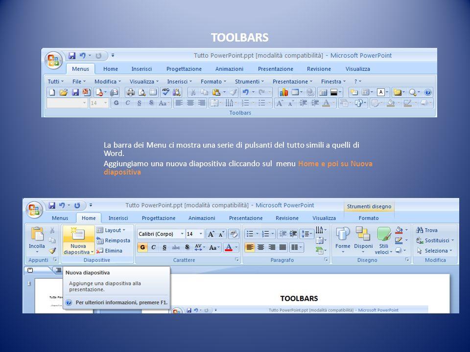 TOOLBARS La barra dei Menu ci mostra una serie di pulsanti del tutto simili a quelli di Word. Aggiungiamo una nuova diapositiva cliccando sul menu Hom