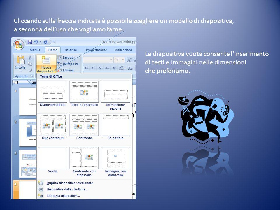 Cliccando sulla freccia indicata è possibile scegliere un modello di diapositiva, a seconda delluso che vogliamo farne. La diapositiva vuota consente