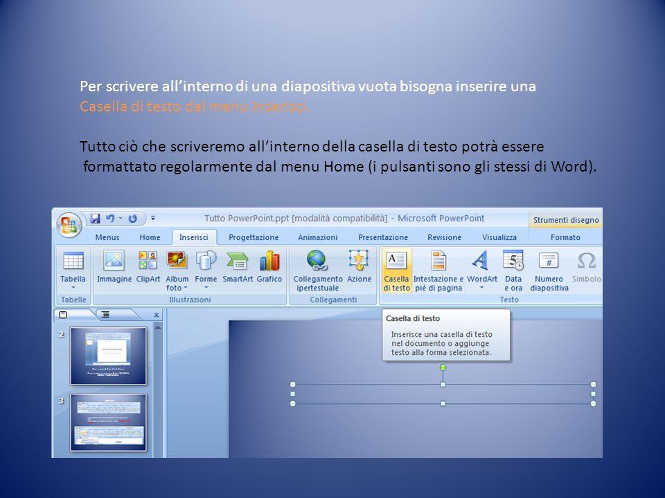 Per scrivere allinterno di una diapositiva vuota bisogna inserire una Casella di testo dal menu Inserisci. Tutto ciò che scriveremo allinterno della c