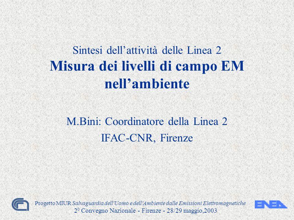 Progetto MIUR Salvaguardia dell'Uomo e dell'Ambiente dalle Emissioni Elettromagnetiche 2 0 Convegno Nazionale - Firenze - 28/29 maggio,2003 Sintesi de