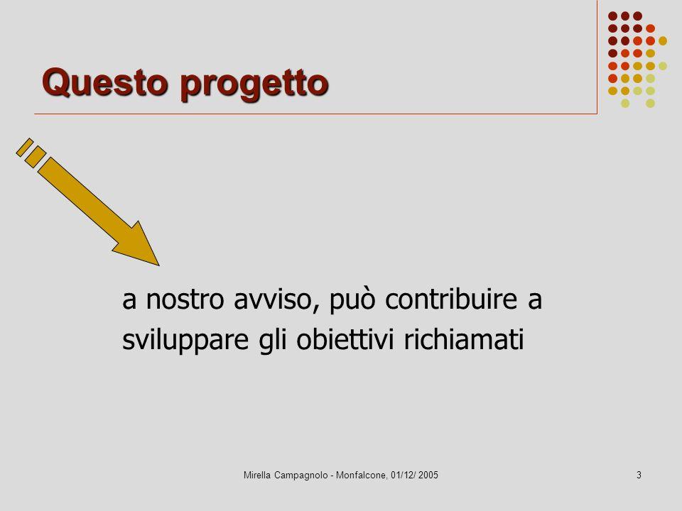 Mirella Campagnolo - Monfalcone, 01/12/ 20053 Questo progetto a nostro avviso, può contribuire a sviluppare gli obiettivi richiamati