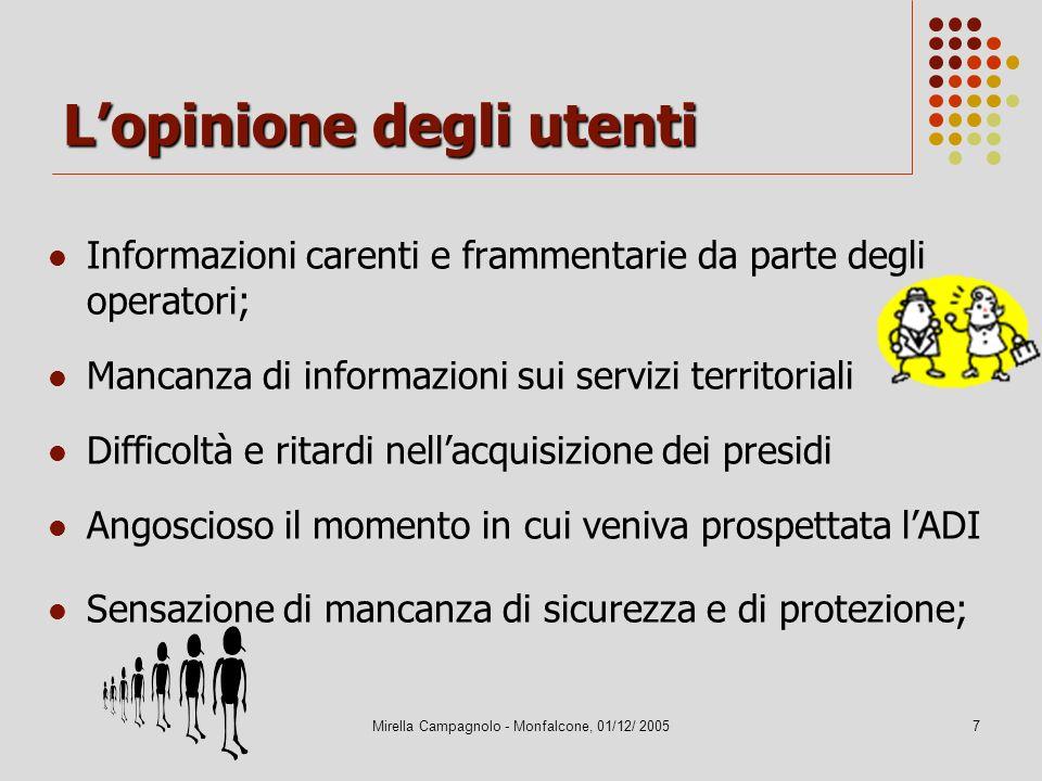 Mirella Campagnolo - Monfalcone, 01/12/ 20057 Lopinione degli utenti Informazioni carenti e frammentarie da parte degli operatori; Mancanza di informa