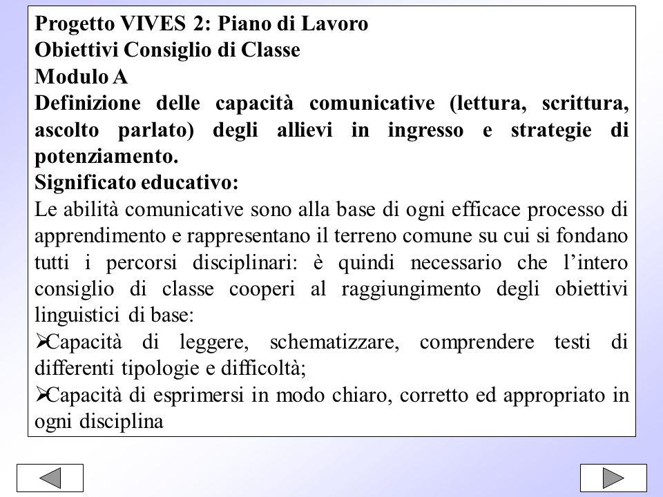 Progetto VIVES 2: Piano di Lavoro Obiettivi Consiglio di Classe Modulo A Definizione delle capacità comunicative (lettura, scrittura, ascolto parlato) degli allievi in ingresso e strategie di potenziamento.