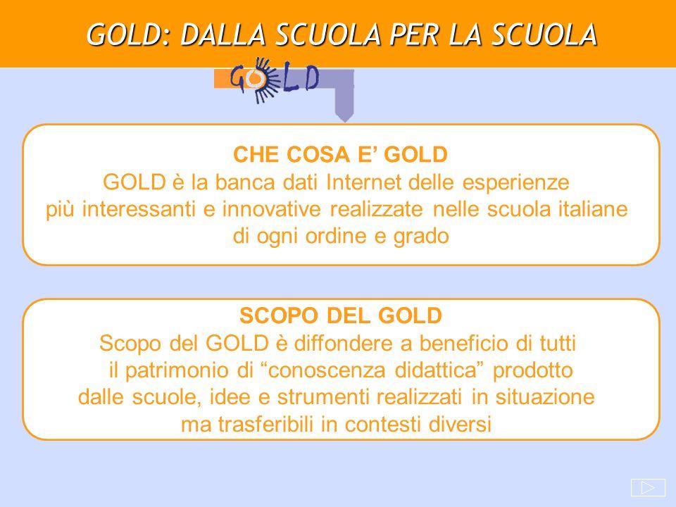 GOLD: DALLA SCUOLA PER LA SCUOLA CHE COSA E GOLD GOLD è la banca dati Internet delle esperienze più interessanti e innovative realizzate nelle scuola