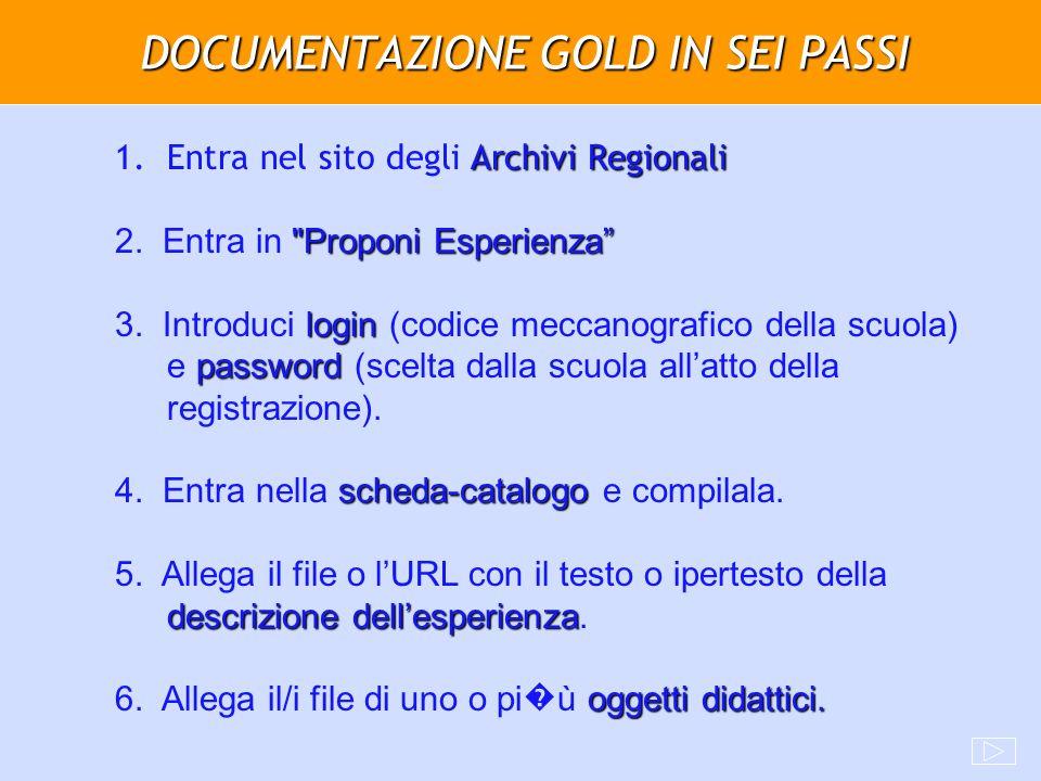 DOCUMENTAZIONE GOLD IN SEI PASSI Archivi Regionali 1.Entra nel sito degli Archivi Regionali