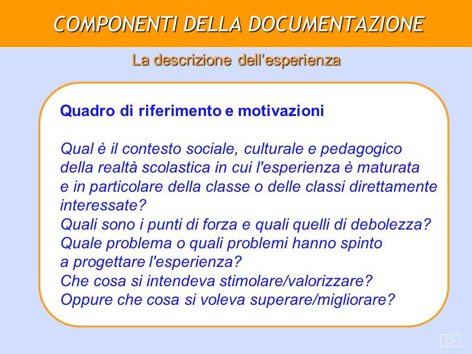 COMPONENTI DELLA DOCUMENTAZIONE La descrizione dellesperienza Quadro di riferimento e motivazioni Qual è il contesto sociale, culturale e pedagogico d