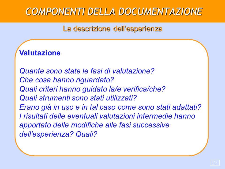 COMPONENTI DELLA DOCUMENTAZIONE La descrizione dellesperienza Valutazione Quante sono state le fasi di valutazione? Che cosa hanno riguardato? Quali c