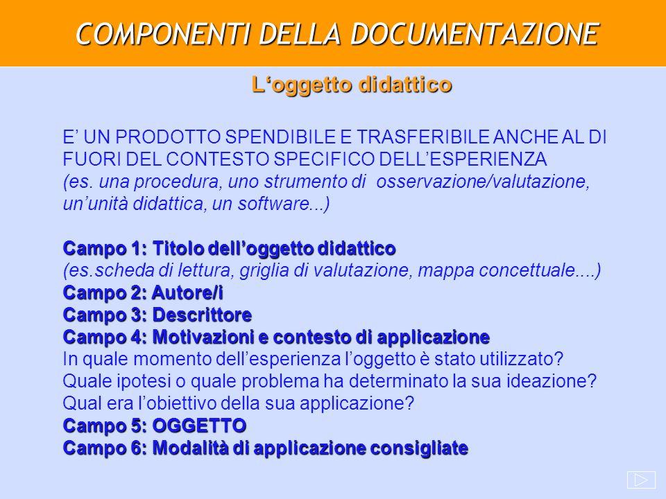 COMPONENTI DELLA DOCUMENTAZIONE Loggetto didattico E UN PRODOTTO SPENDIBILE E TRASFERIBILE ANCHE AL DI FUORI DEL CONTESTO SPECIFICO DELLESPERIENZA (es