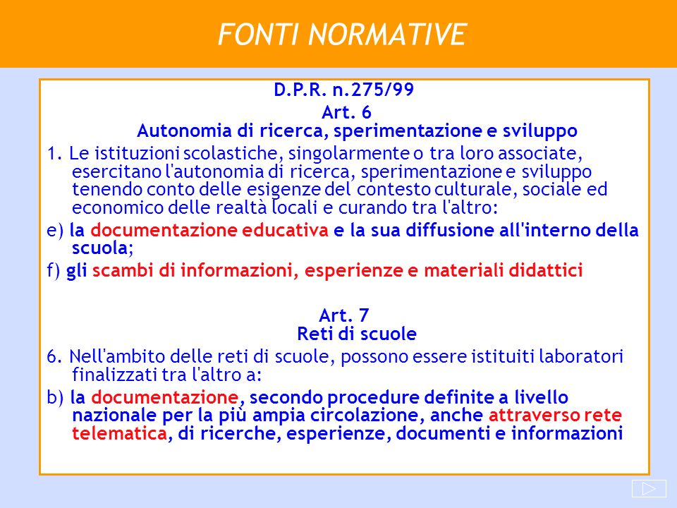 FONTI NORMATIVE D.P.R. n.275/99 Art. 6 Autonomia di ricerca, sperimentazione e sviluppo 1. Le istituzioni scolastiche, singolarmente o tra loro associ