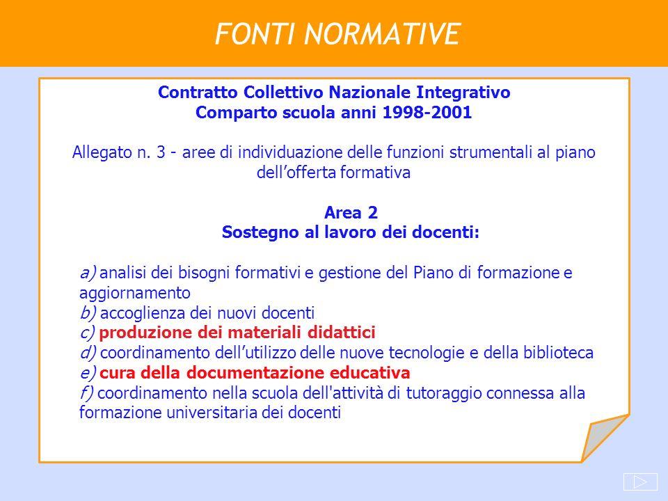 FONTI NORMATIVE Contratto Collettivo Nazionale Integrativo Comparto scuola anni 1998-2001 Allegato n. 3 - aree di individuazione delle funzioni strume