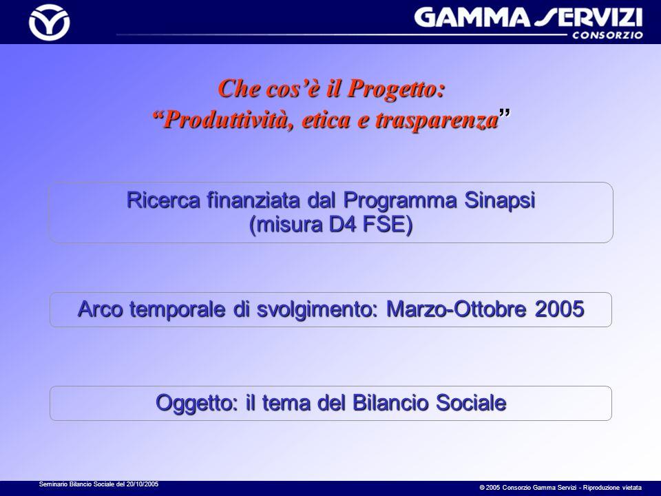 Seminario Bilancio Sociale del 20/10/2005 © 2005 Consorzio Gamma Servizi - Riproduzione vietata … il Forum