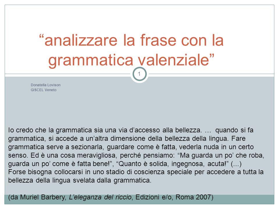 Donatella Lovison GISCEL Veneto analizzare la frase con la grammatica valenziale 1 Io credo che la grammatica sia una via daccesso alla bellezza. … qu