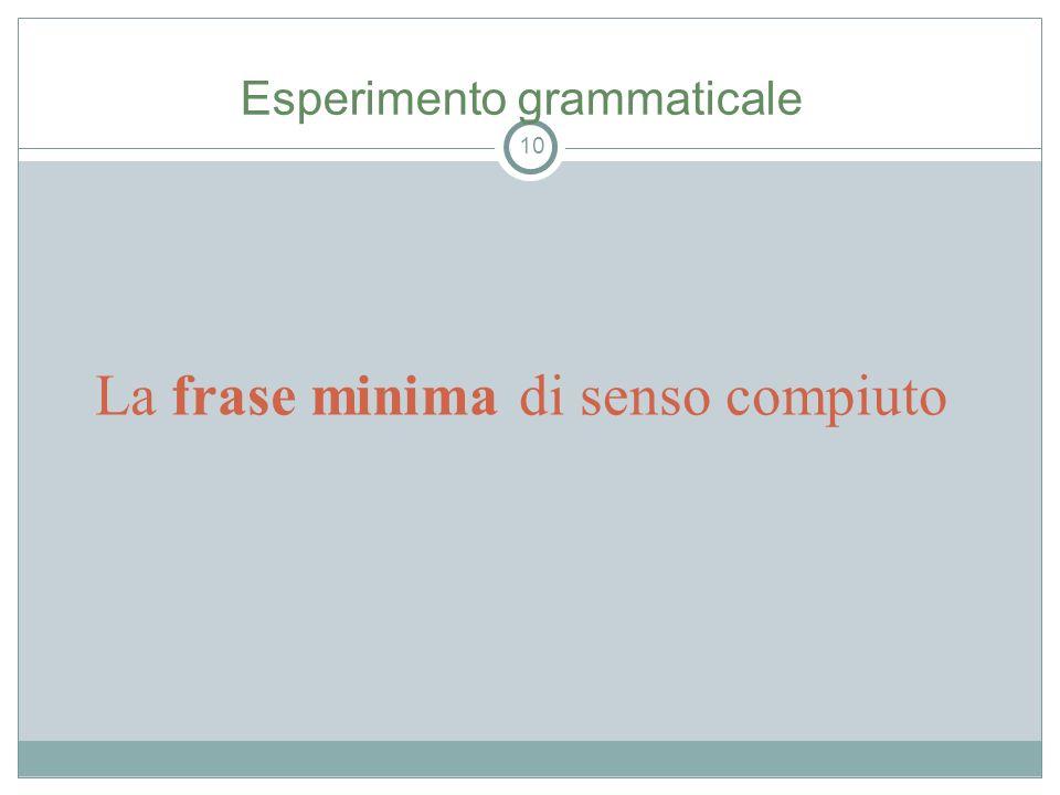 La frase minima di senso compiuto 10 Esperimento grammaticale