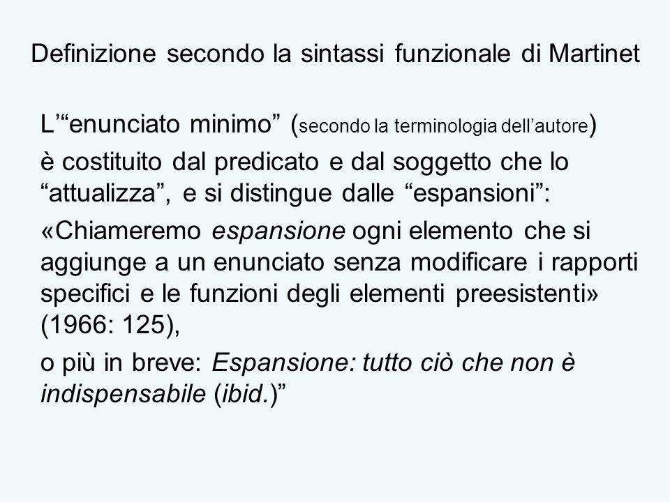 Definizione secondo la sintassi funzionale di Martinet Lenunciato minimo ( secondo la terminologia dellautore ) è costituito dal predicato e dal sogge