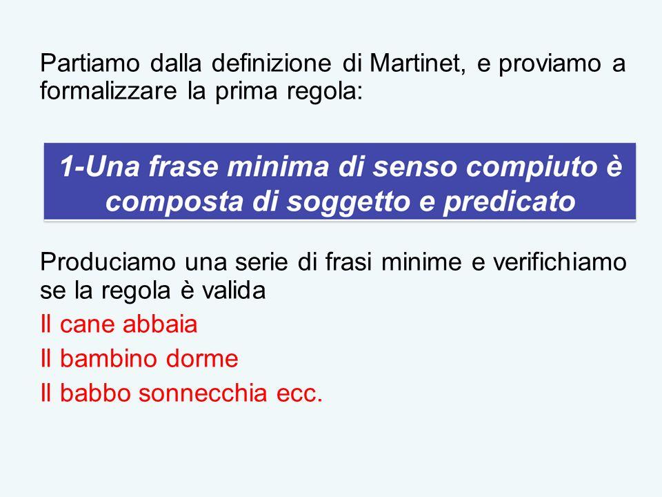 Partiamo dalla definizione di Martinet, e proviamo a formalizzare la prima regola: Produciamo una serie di frasi minime e verifichiamo se la regola è