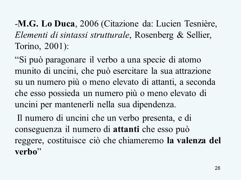 26 -M.G. Lo Duca, 2006 (Citazione da: Lucien Tesnière, Elementi di sintassi strutturale, Rosenberg & Sellier, Torino, 2001): Si può paragonare il verb