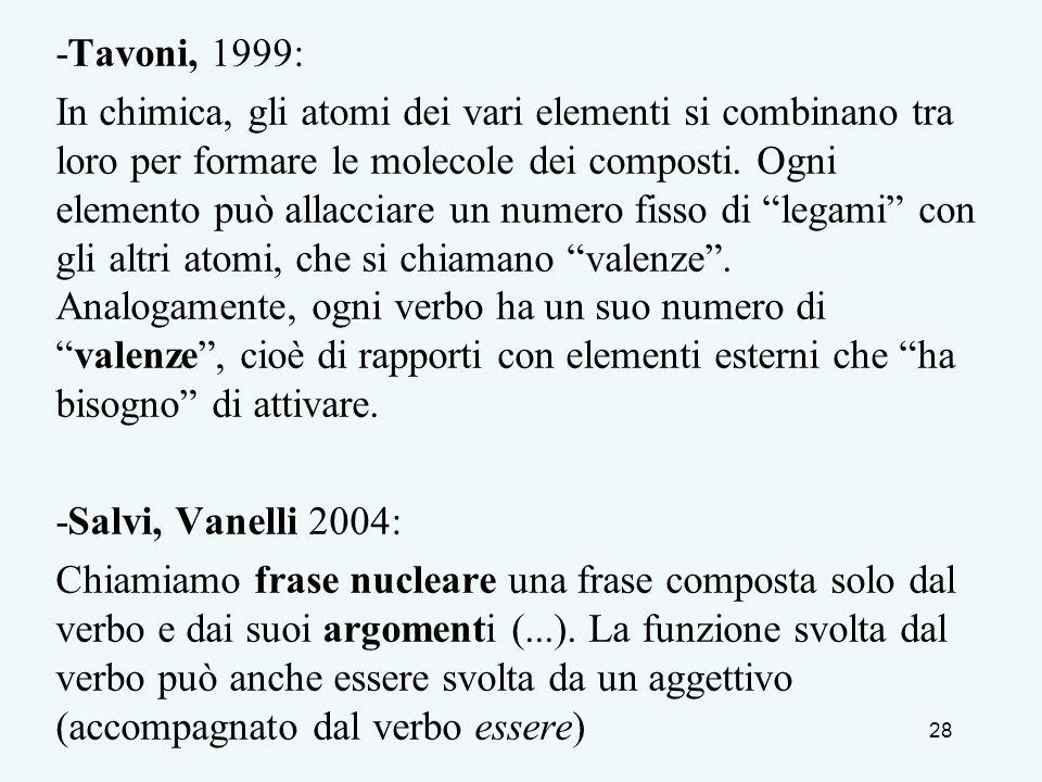 -Tavoni, 1999: In chimica, gli atomi dei vari elementi si combinano tra loro per formare le molecole dei composti. Ogni elemento può allacciare un num