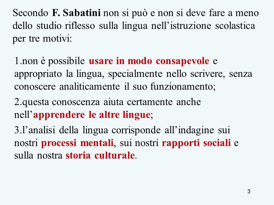 3 Secondo F. Sabatini non si può e non si deve fare a meno dello studio riflesso sulla lingua nellistruzione scolastica per tre motivi: 1.non è possib