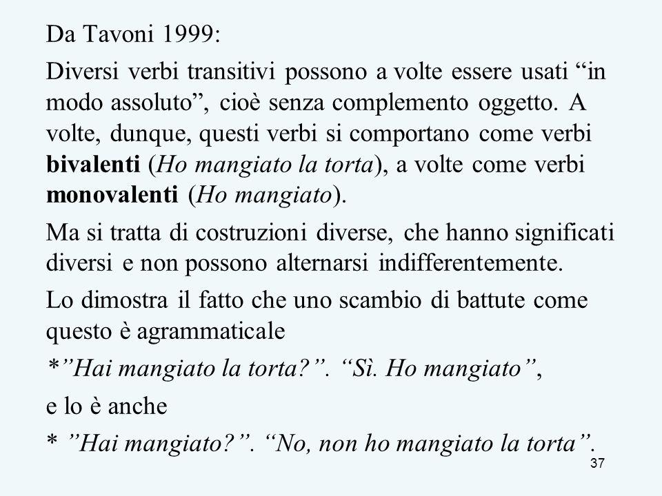 Da Tavoni 1999: Diversi verbi transitivi possono a volte essere usati in modo assoluto, cioè senza complemento oggetto. A volte, dunque, questi verbi