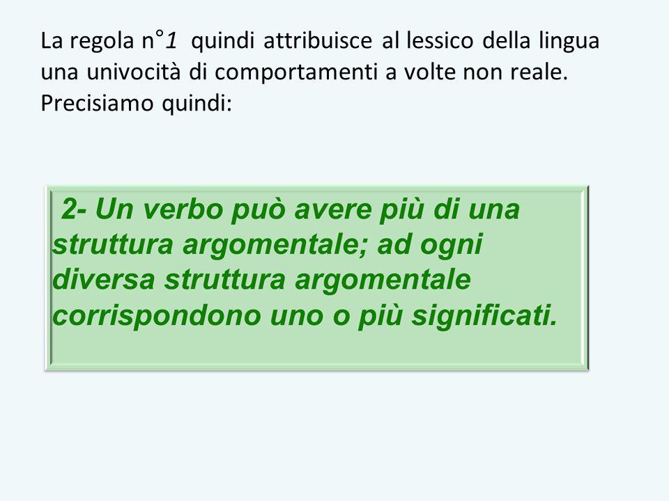 La regola n°1 quindi attribuisce al lessico della lingua una univocità di comportamenti a volte non reale. Precisiamo quindi: