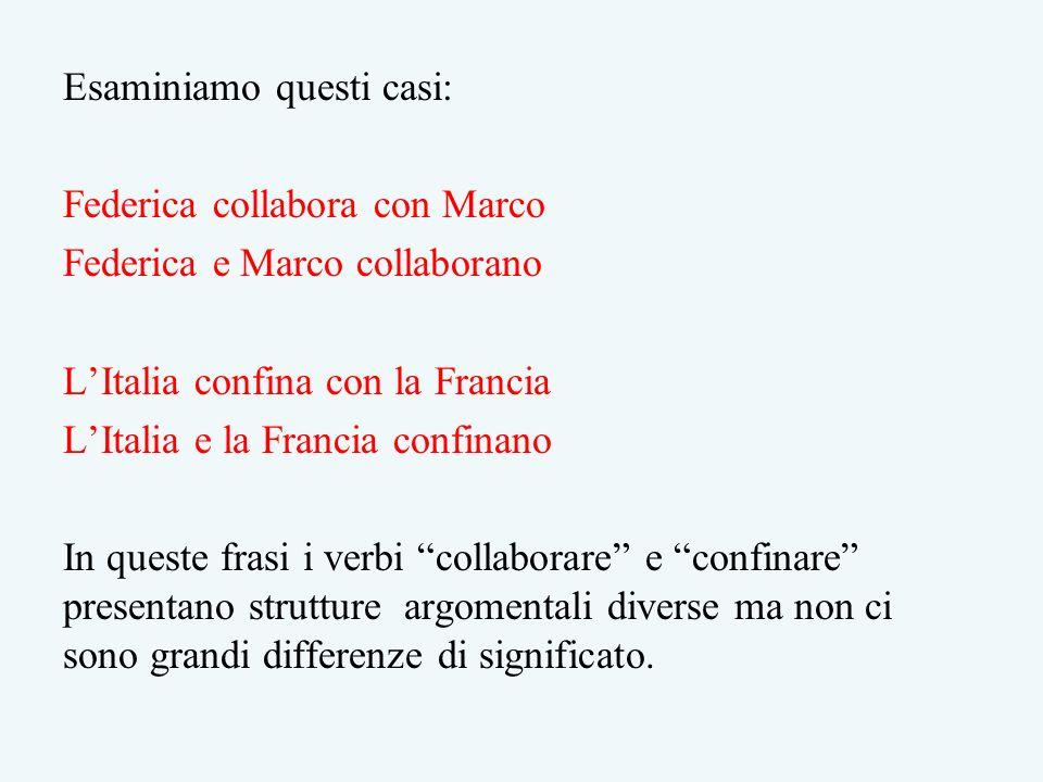 Esaminiamo questi casi: Federica collabora con Marco Federica e Marco collaborano LItalia confina con la Francia LItalia e la Francia confinano In que