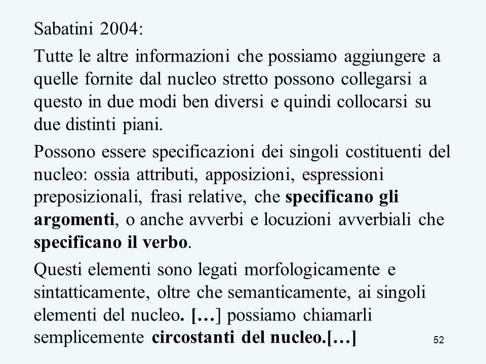 Sabatini 2004: Tutte le altre informazioni che possiamo aggiungere a quelle fornite dal nucleo stretto possono collegarsi a questo in due modi ben div