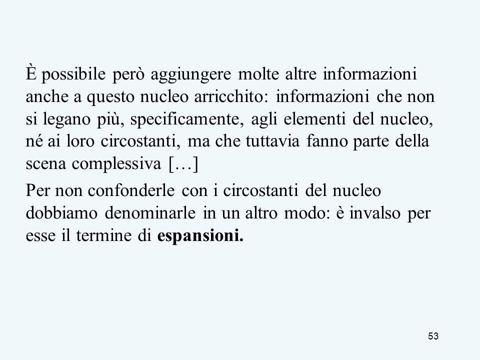È possibile però aggiungere molte altre informazioni anche a questo nucleo arricchito: informazioni che non si legano più, specificamente, agli elemen