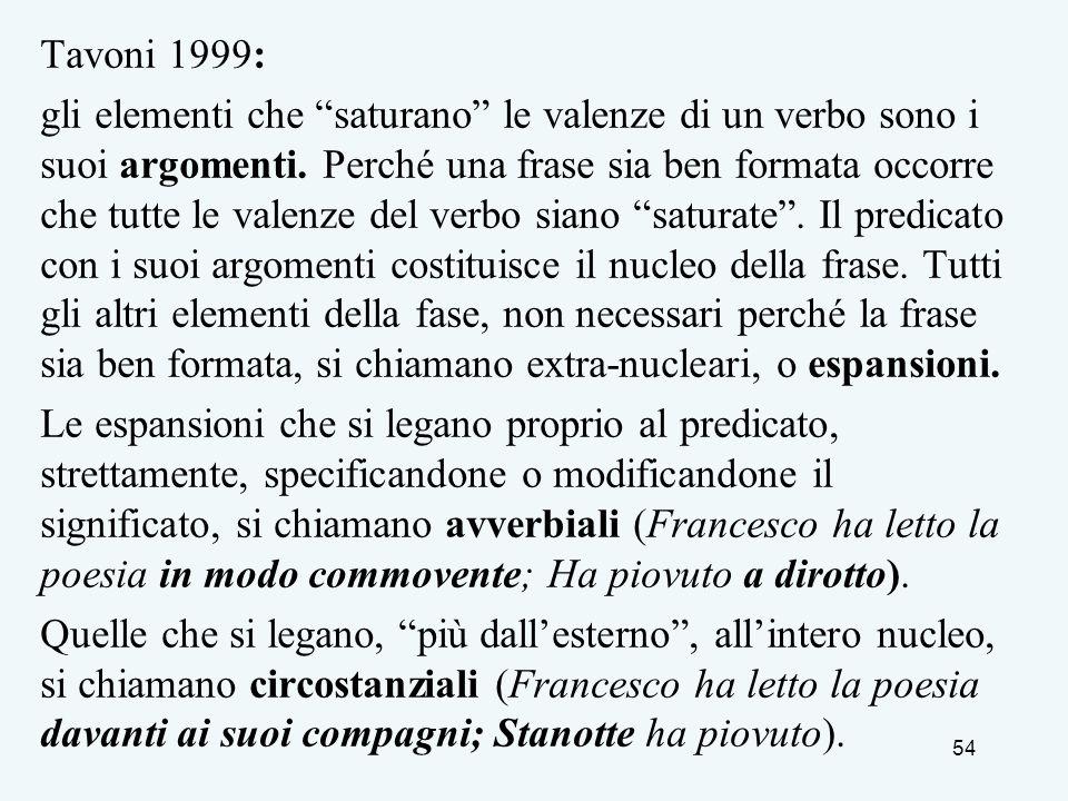 Tavoni 1999: gli elementi che saturano le valenze di un verbo sono i suoi argomenti. Perché una frase sia ben formata occorre che tutte le valenze del