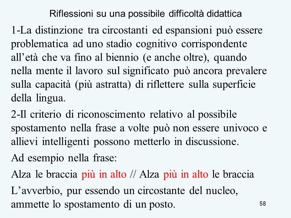 1-La distinzione tra circostanti ed espansioni può essere problematica ad uno stadio cognitivo corrispondente alletà che va fino al biennio (e anche o