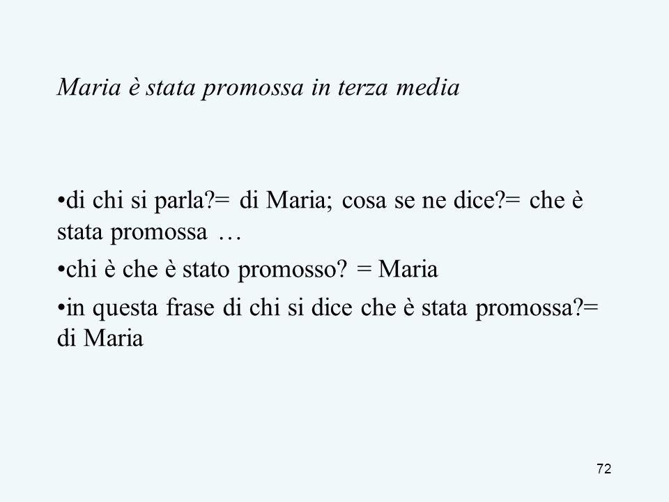 Maria è stata promossa in terza media di chi si parla?= di Maria; cosa se ne dice?= che è stata promossa … chi è che è stato promosso? = Maria in ques