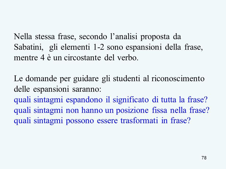 78 Nella stessa frase, secondo lanalisi proposta da Sabatini, gli elementi 1-2 sono espansioni della frase, mentre 4 è un circostante del verbo. Le do
