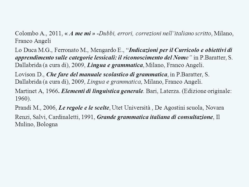 Colombo A., 2011, « A me mi » -Dubbi, errori, correzioni nellitaliano scritto, Milano, Franco Angeli Lo Duca M.G., Ferronato M., Mengardo E., Indicazi