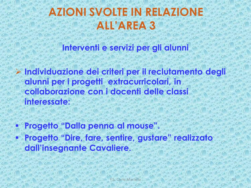 F.S. Carla Mariella13 AZIONI SVOLTE IN RELAZIONE ALLAREA 3 Interventi e servizi per gli alunni Individuazione dei criteri per il reclutamento degli al