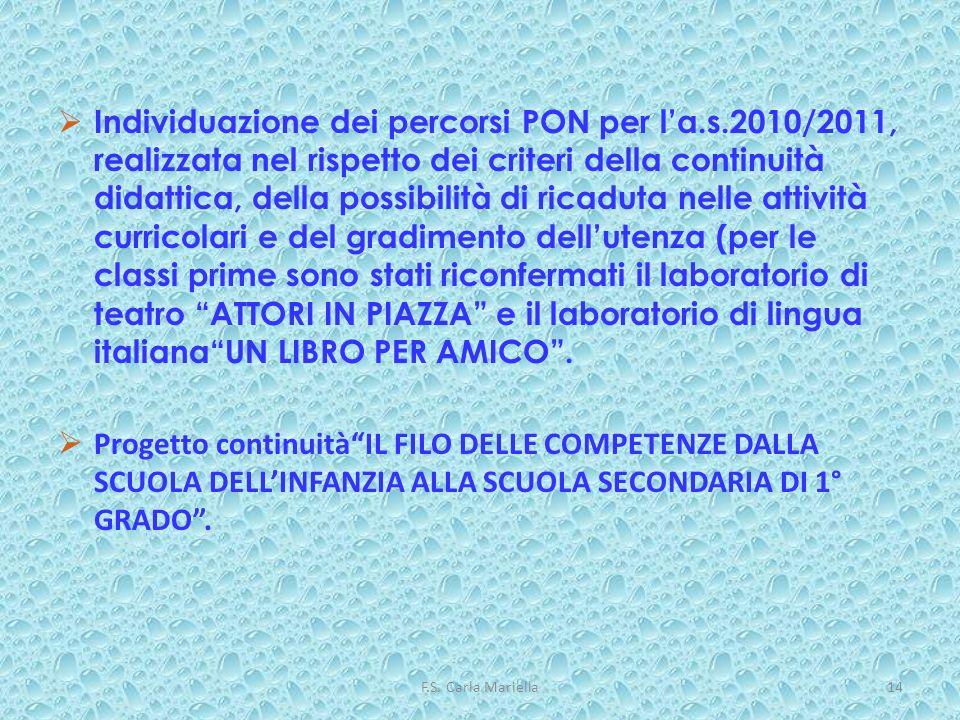 F.S. Carla Mariella14 Individuazione dei percorsi PON per la.s.2010/2011, realizzata nel rispetto dei criteri della continuità didattica, della possib
