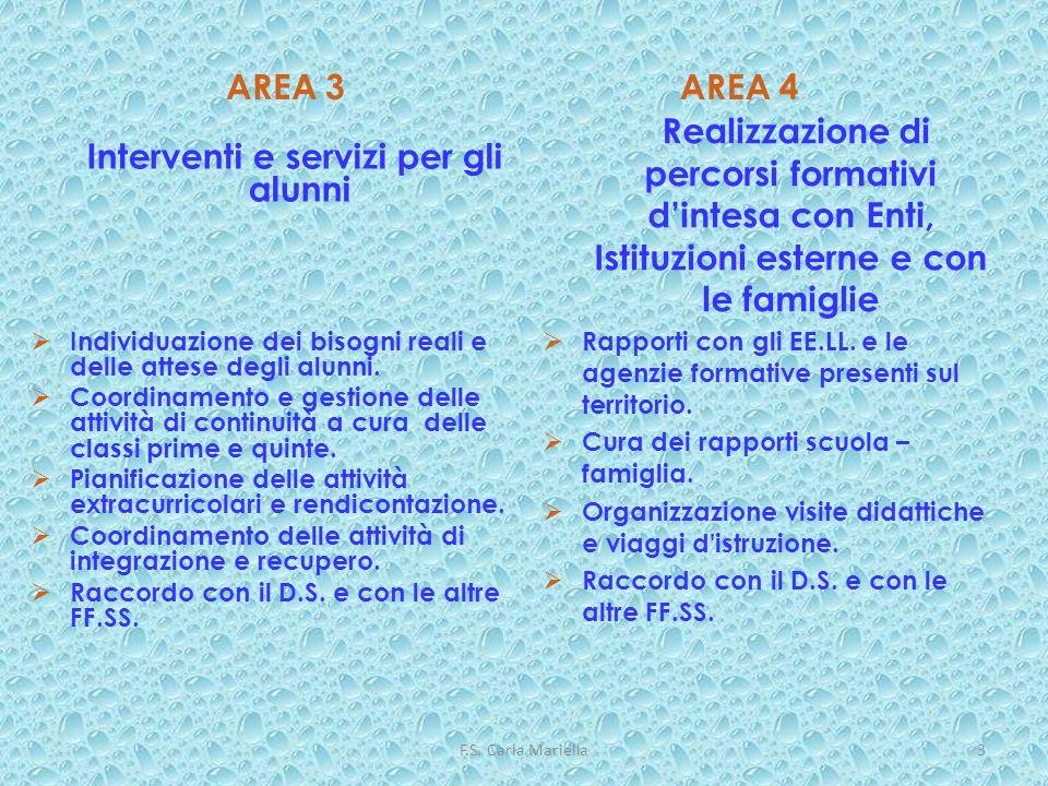 F.S. Carla Mariella3 AREA 3 Interventi e servizi per gli alunni Individuazione dei bisogni reali e delle attese degli alunni. Coordinamento e gestione