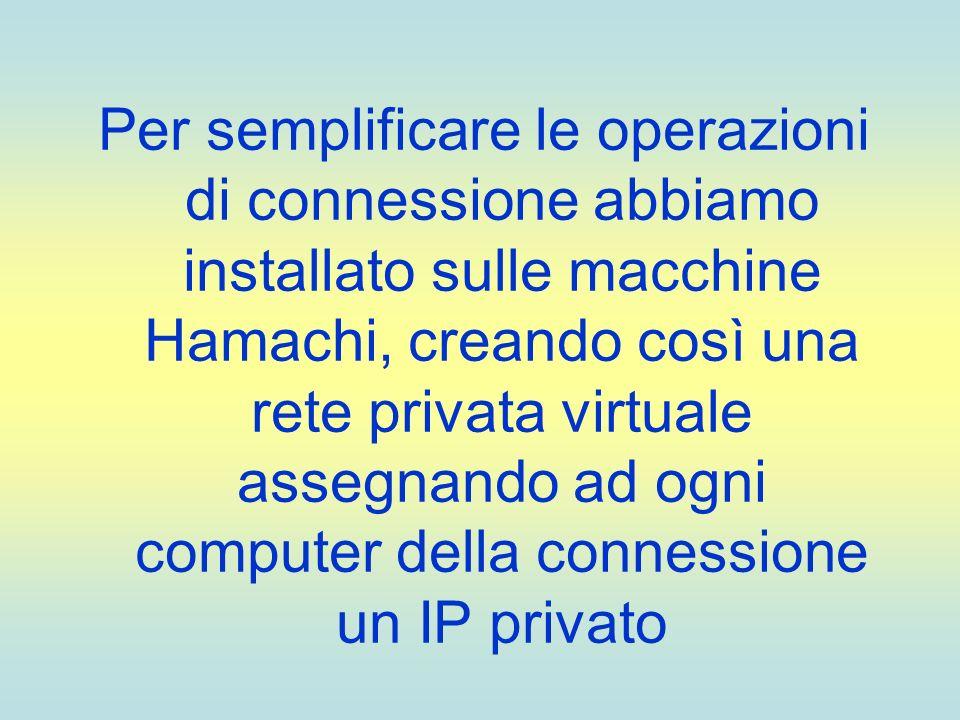 Per semplificare le operazioni di connessione abbiamo installato sulle macchine Hamachi, creando così una rete privata virtuale assegnando ad ogni com