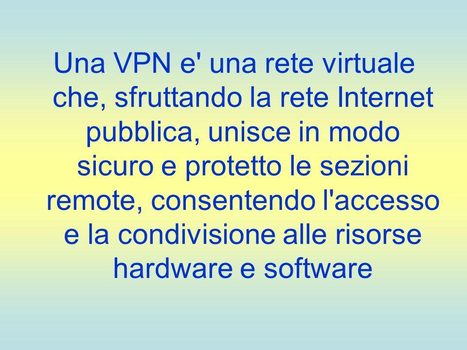 Una VPN e' una rete virtuale che, sfruttando la rete Internet pubblica, unisce in modo sicuro e protetto le sezioni remote, consentendo l'accesso e la