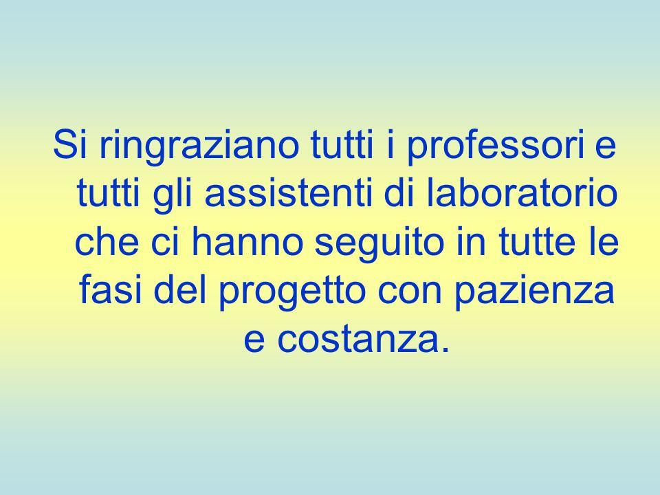 Si ringraziano tutti i professori e tutti gli assistenti di laboratorio che ci hanno seguito in tutte le fasi del progetto con pazienza e costanza.