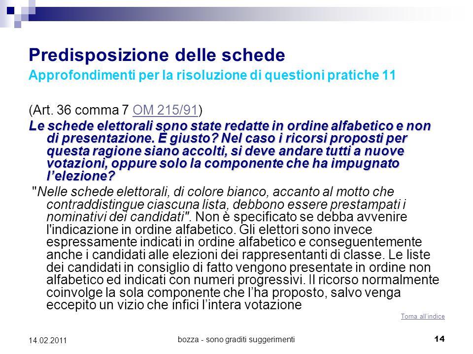 bozza - sono graditi suggerimenti14 14.02.2011 Predisposizione delle schede Approfondimenti per la risoluzione di questioni pratiche 11 (Art. 36 comma