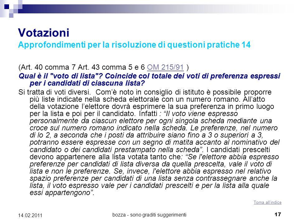 bozza - sono graditi suggerimenti17 14.02.2011 Votazioni Approfondimenti per la risoluzione di questioni pratiche 14 (Art. 40 comma 7 Art. 43 comma 5